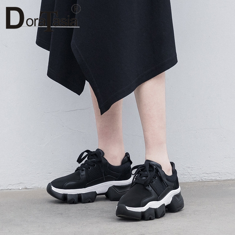 DORATASIA New Spring Cow   Leather   Cow   Suede   INS Hot Luxury Dad Shoes Lace Up Sneakers Flat Platform Shoes Woman Flats Female