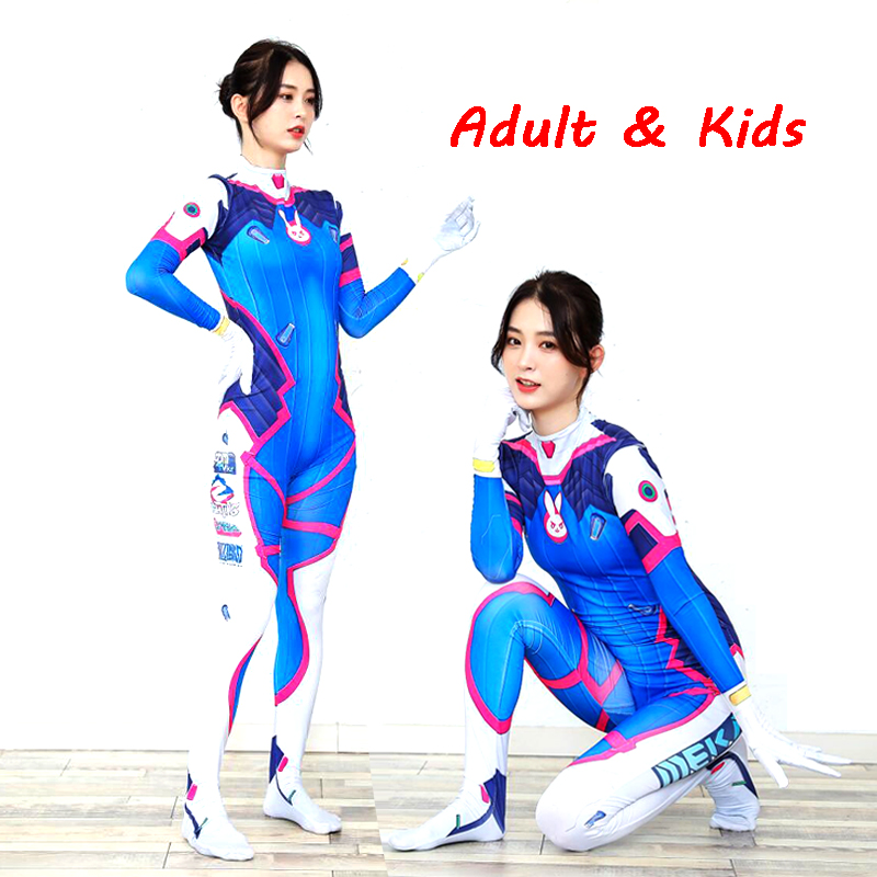 2019 Halloween Costumes 3D Printing Overwatches Lady D VA Costume For Women Plus Size Cosplay Dva Zentai Spandex Dva Bodysuit