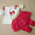 Sequins Polka Dot Baby Girl Clothes Suit Kids Bow Top & Skirt Pant 2 Piece Clothing Set Toddler Girls Princess Outifits