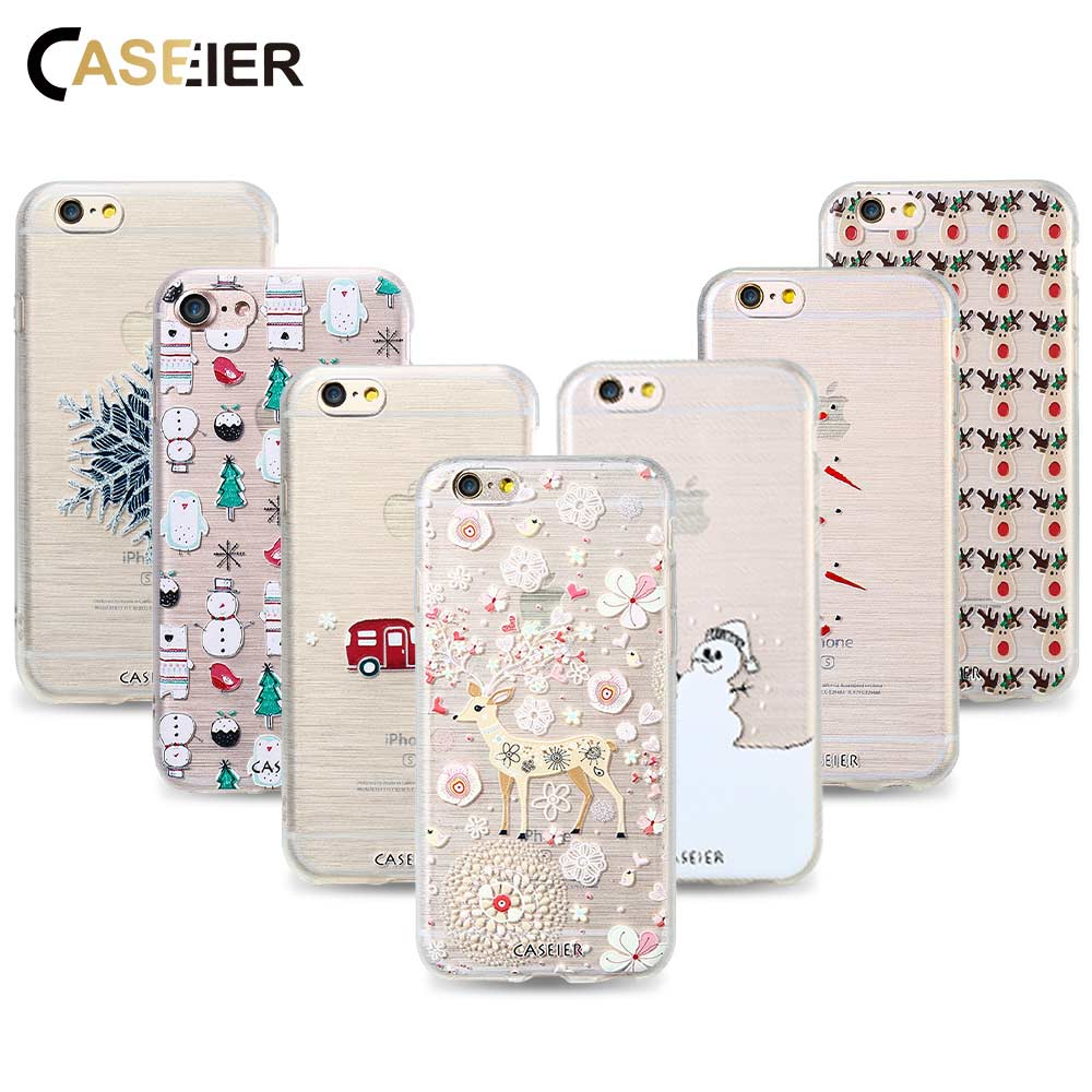 CASEIER Snowman Case For iPhone 5 5s SE 6 6s 7 8 Plus Cases New Year ...