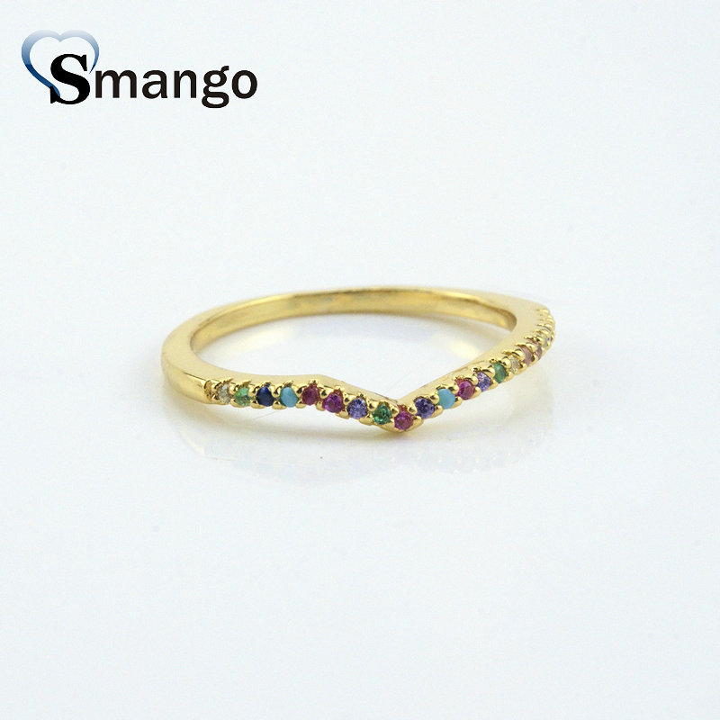 5Pieces Women Fashion Jewelry The Rainbow Series The quot V quot Shape Rings Top Quality Gold Plating Pave Setting CZ Rings Ring in Rings from Jewelry amp Accessories