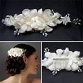 Elegant Girl Soft Pearl Short Bride Barrettes Hair Accessory Fabric Flower Wedding Hair Clip Hair Comb Tiara Ivory