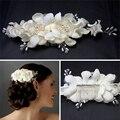 Menina elegante Pérola Suave Curto Noiva Presilhas de Cabelo Grampo de Cabelo de Flor de Tecido Acessório Do Cabelo Do Casamento Tiara Pente de Marfim