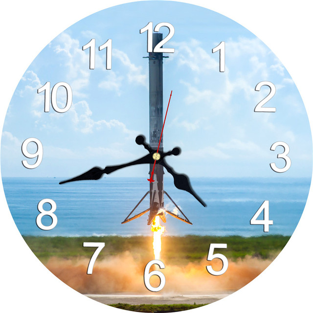 US $7 83 50% OFF|2017 Wall Clock Rocket Launch Design Relogio De Parede  Large Silent For Living Room Wall Decor Saat Home Decoration Watch Wall -in