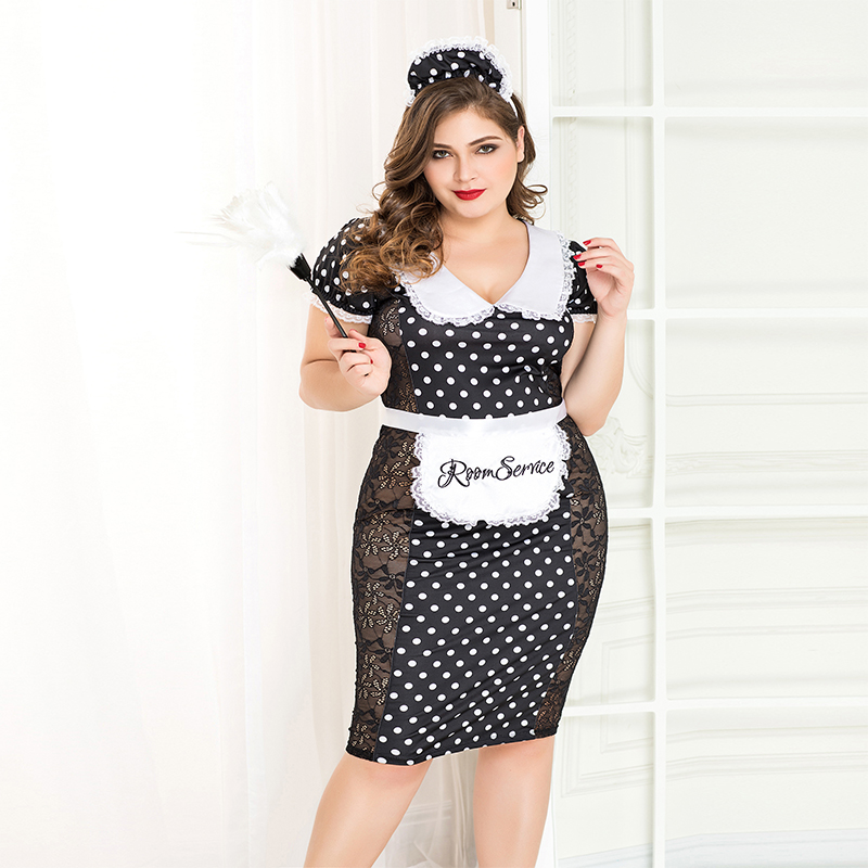 porn women sexy maid costumes plus size dot print lace patchwork dress maid outfit uniform erotic lingerie for female P71108