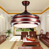 Ceiling Fans Lamp 42 Inch 108cm LED Living Room Ceiling Lamp 85 265V Brown Dimming Remote