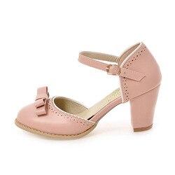 TAOFFEN Size 32-43 Women High Heels Sandals Leisure Buckle Strap Chunky Heel Shoes Women Summer Bowtie Sandalias Party Footwear 2