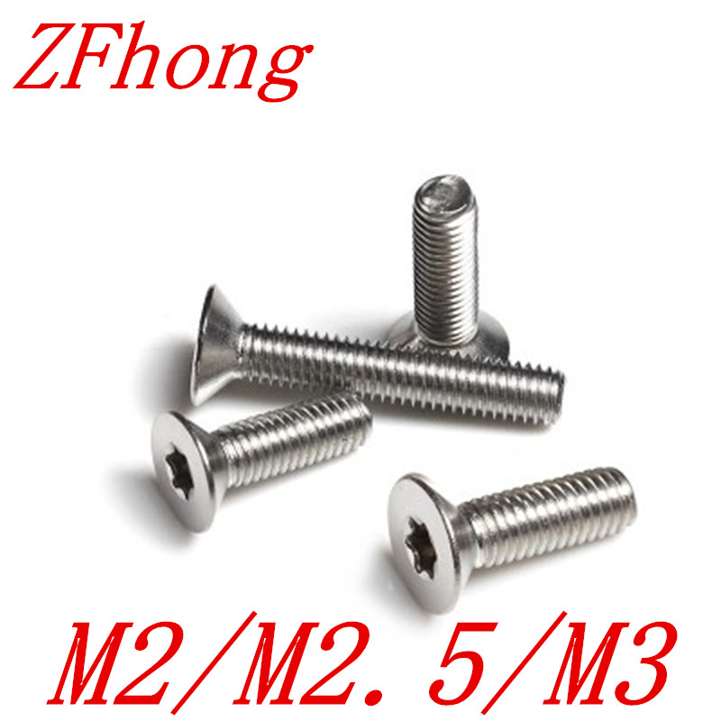 100pcs/lot M1.6 M2 M2.5 M3 ISO14581 Stainless steel countersunk head torx screw flat six-lobe machine screws купить