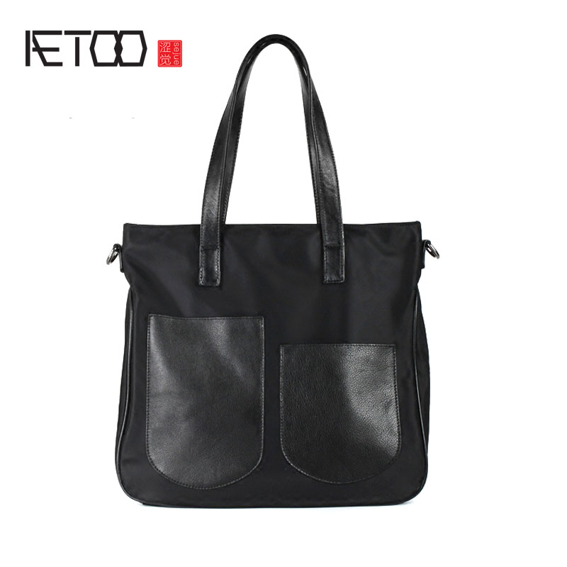 AETOO Nylon with leather handbags simple commuter handbag big bag Oxford cloth with the first layer of leather leather package b polo women golf club clothing bag handbag nylon first layer of leather