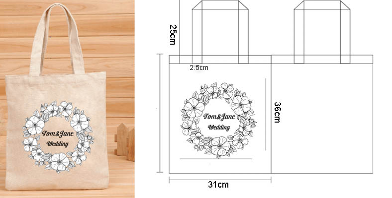 100 pcs Custom Wedding Canvas Cotton Tote Bag Shopper Bag Women Fashion Washable Plain Tote Bag Natural Canvas Shopping Bag canvas tote bag