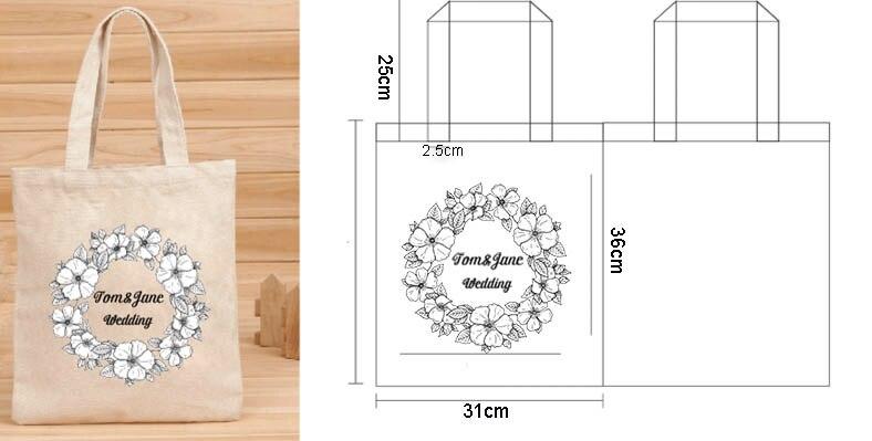 100 pcs Custom Wedding Canvas Cotton Tote Bag Shopper Bag Women Fashion Washable Plain Tote Bag Natural Canvas Shopping Bag