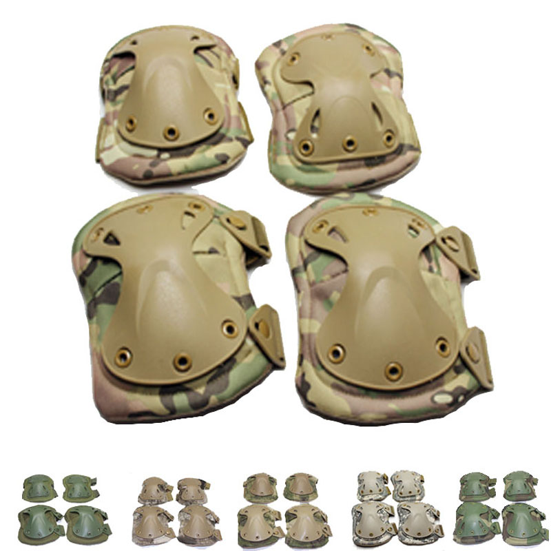 Military font b Tactical b font Combat Airsoft Paintball Hunting protective pads knee and elbow pads