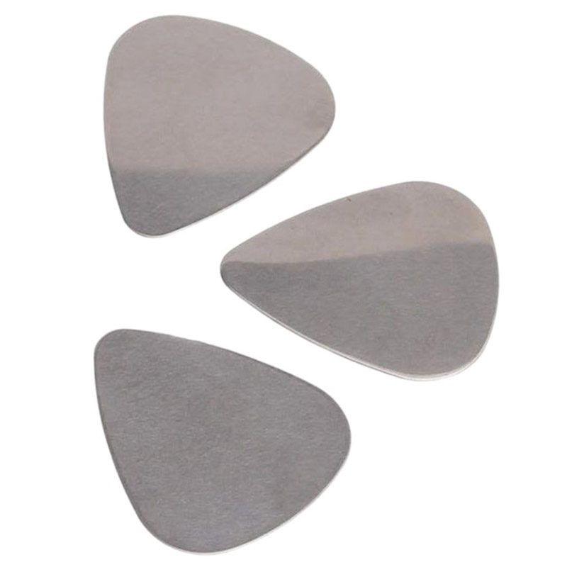 6x Stainless Steel Guitar Picks - Silver