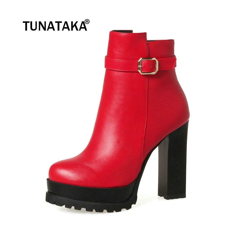 Negro Zapatos Plataforma Damas Para Cremallera Invierno Grueso Mujeres Rojo  Negro Lateral Hebilla Tacón Moda rojo Alto Botas 7Oqwp f81260138ae9