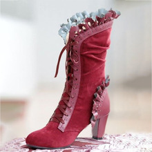 Women Boots Shoes Winter Flock Pointed Toe Lace-Up Mid-Calf High (5cm-8cm) Thick High Heels Female Pumps Boots Shoes Plus Size 2017 winter female high heeled shoes solid high quality women casual boots zipper women mid calf boots pointed toe martin boots