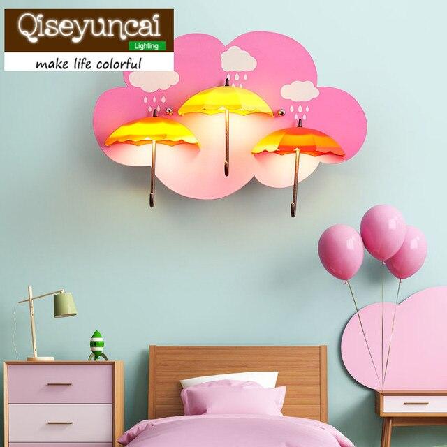 Qiseyuncai Children's room cartoon wall lamp girl bedroom creativity personality warmth energy saving bedside umbrella wall lamp