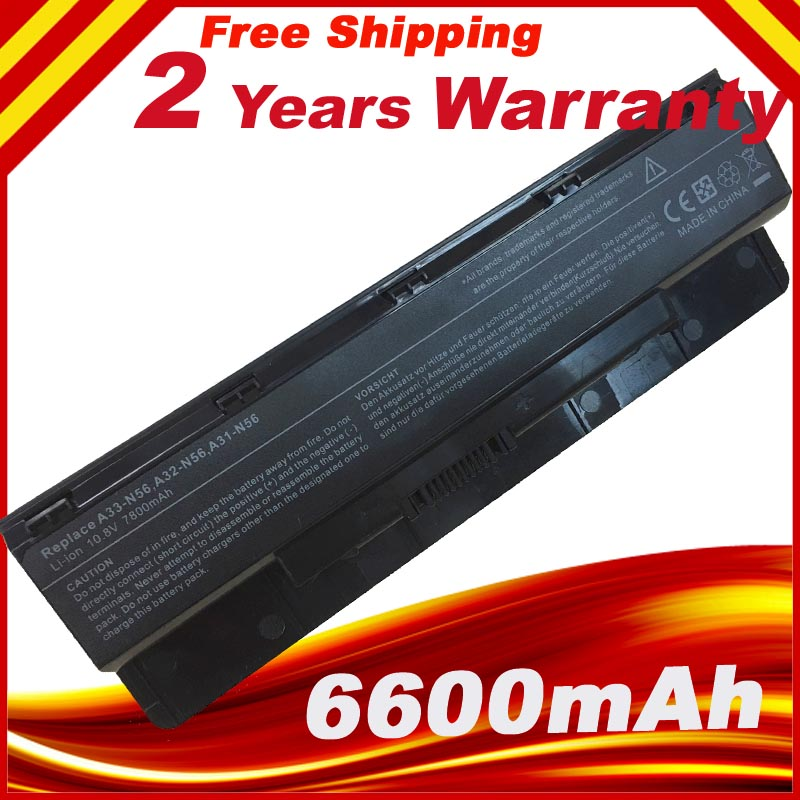 9 Cells 7800mAh Laptop Battery A32 N56 Battery for ASUS N46 N46V N46VJ N46VM N46VZ N56 N56V N56VJ N56VM N76 N76VZ A31 N56 A33 N