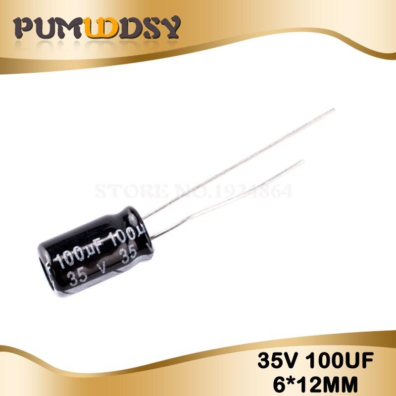 50PCS Higt Quality 35V100UF 6*12mm 100UF 35V 6.3*12 Electrolytic Capacitor