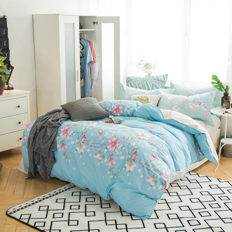 Fresh 100 Cotton Blue Bedding Sets Queen Full Size Girl Flower Bed Linen 3d Comforter Duvet