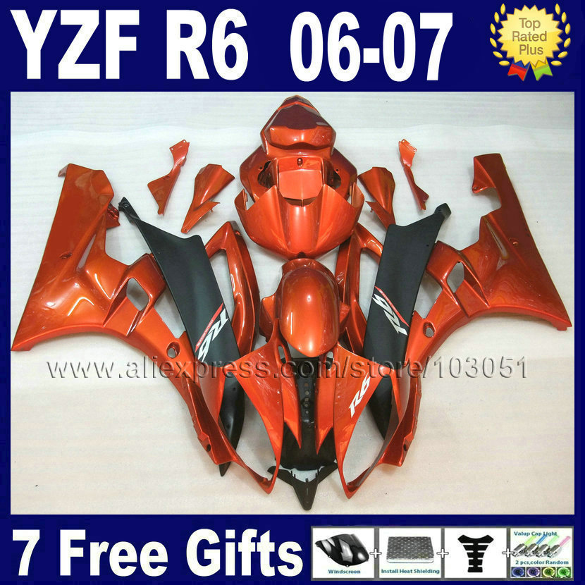 7gifts Injection molding  motorcycle fairings kit For YAMAHA YZF R6 06 07 plasticR YZFR6 2006 2007 YZF 600 red golden fairing bo motorcycle fairing kit for kawasaki ninja zx10r 2006 2007 zx10r 06 07 zx 10r 06 07 west white black fairings set 7 gifts kd01
