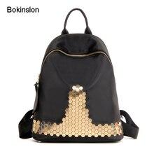 Bokinslon Для женщин мода рюкзак из искусственной кожи на молнии Вышивка Крестом Пакет Популярные Колледж ветер женщина двойной плечо рюкзак