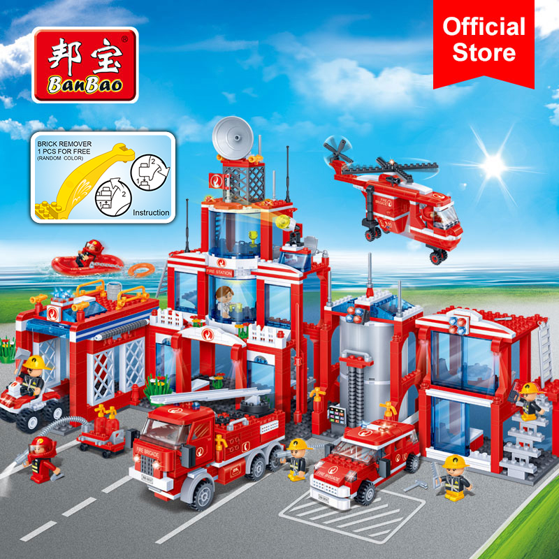 BanBao Fire Station Firefighters Truck Helicopter Building Blocks Educational Bricks Model Toy 8355 For Children Kids FriendBanBao Fire Station Firefighters Truck Helicopter Building Blocks Educational Bricks Model Toy 8355 For Children Kids Friend