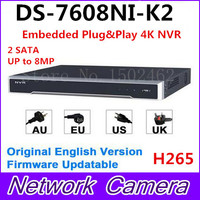 Hikvision Original English Version DS 7608NI K2 Embedded 4K NVR 2HDD Support H 265 2SATA 8MP