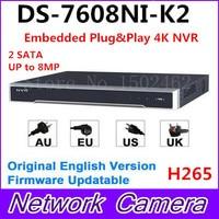 Hikvision Original English Version DS 7608NI K2 Embedded 4K NVR 2HDD Support H 265 2SATA 8MP
