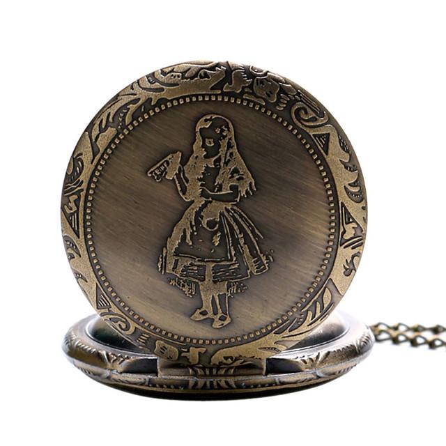 Alicia en el país de las Maravillas Tema de bronce de cuarzo relojes de bolsillo Vintage relojes Fob navidad regalo de cumpleaños