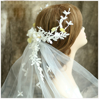 Elegante Pizzo Piuma Wedding Tiara Nuziale Dell'annata Cappello di Capelli Accessori Fatti A Mano Delle Donne di Promenade Copricapo Velo Tiara