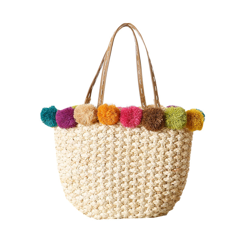 Aliexpress.com : Buy Raffia Beach Bag Handmade Pom Ball Handbags ...