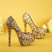 Colorful Diamond 6cm Women Pumps High Heeled Shoes Plus Size 40 Female Wedding Shoes Crystal Party