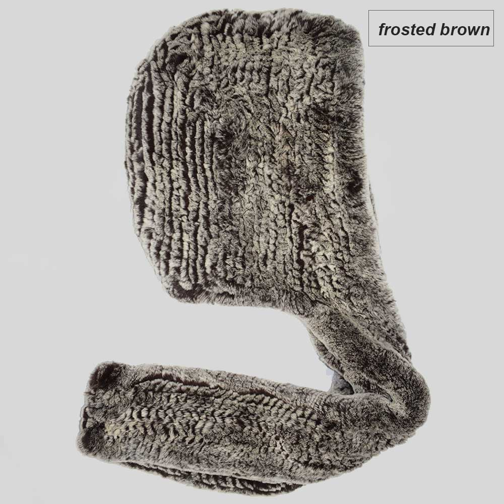 knit rex fur scarf frosted brown