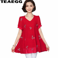 TEAEGG Womens Blouses And Tops Chemisier Femme Women Tops Chiffon Shirt Blusa Mujer Plus Size 4XL 5XL 6XL Red Blouses AL1227