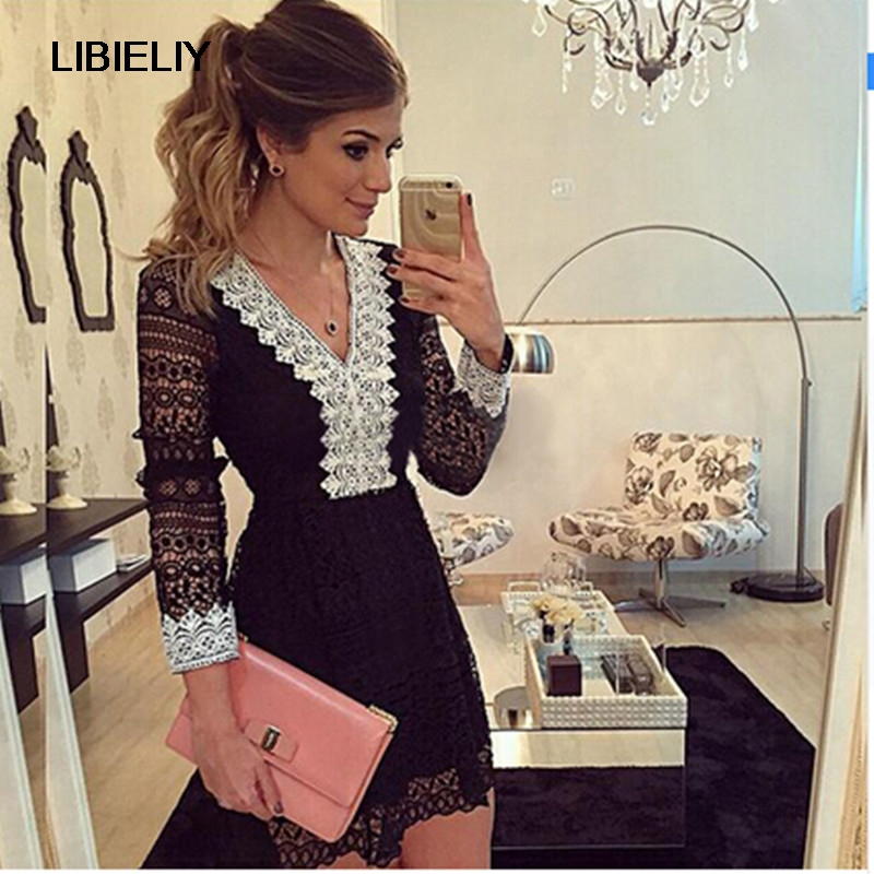 Nice New Fashion Women a-line Dress Sexy Black Hollow Out Lace Dresses Casual Long Sleeve Mini Dess