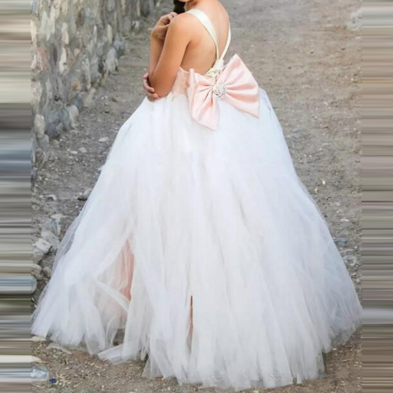 vestido de daminha Coral   Girls   Pageant Gowns With Beaded Big Bow Long   Flower     Girl     Dresses   For Wedding Children Baby Formal Wear