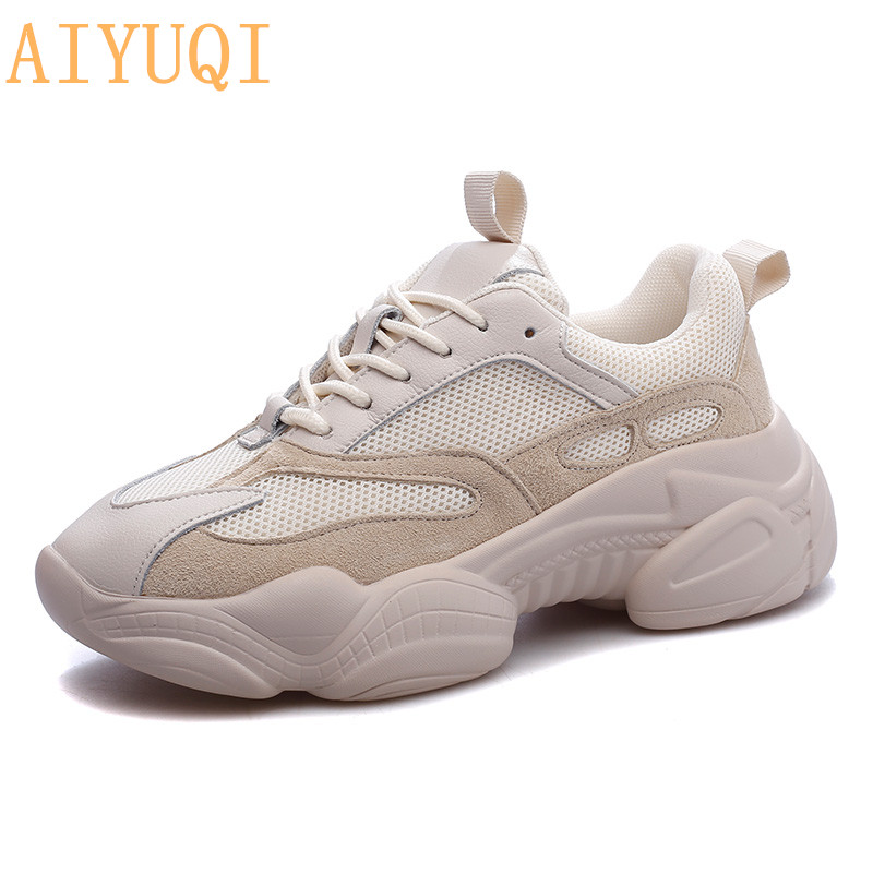 AIYUQI 2019 new autumn womens sports shoes with genuine leather casual breathable mesh lovers