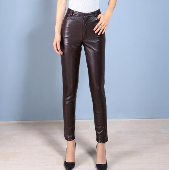 Новинка 2018 года натуральная кожа ботинки из овечьей кожи вырезать джинсы кожаные брюки женские узкие брюки кожаные брюки леггинсы черные б