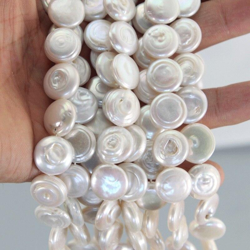 5 brins/paquet naturel AAA 14-15mm blanc Biwa plat rond perle perles 15.5-16 pouces bouton perle brins LPS0014