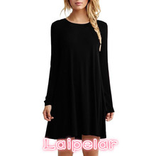 Women Long Sleeve Casual Loose Black Dress Autumn Winter Sexy Pleated Mini Party Dresses Laipelar