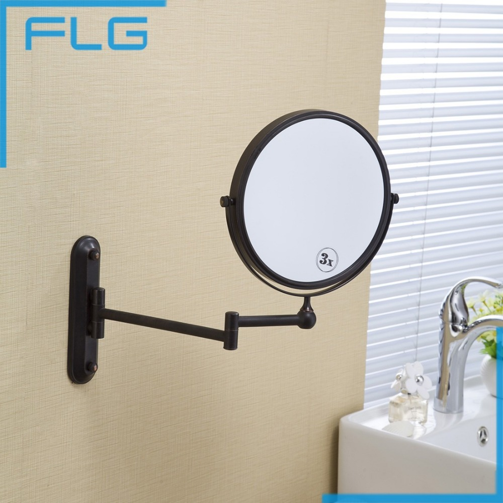 New fashion 8 inches bathroom mirror Dual Arm Extend Makeup mirror magnifying 3X Equipped metal round Wall mirror large 8 inch fashion high definition desktop makeup mirror 2 face metal bathroom mirror 3x magnifying round pin 360 rotating