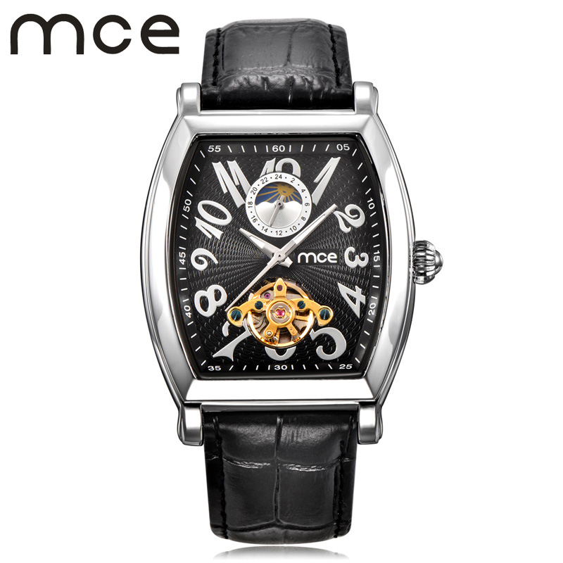 2018 new MCE brand Automatic Mechanical Watches for men Tourbillon Moon Phase fashion Watch Business leather strap clock 445 mce brand men self wind waterproof leather strap automatic mechanical male black white dial fashion tourbillon watch men clock