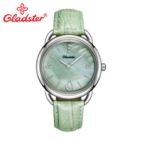 Gladster Luxury Brand Green Red Leather Ladies Quartz Watch Stainless Steel Women Wristwatch Sapphire Crystal Female Dress Watch