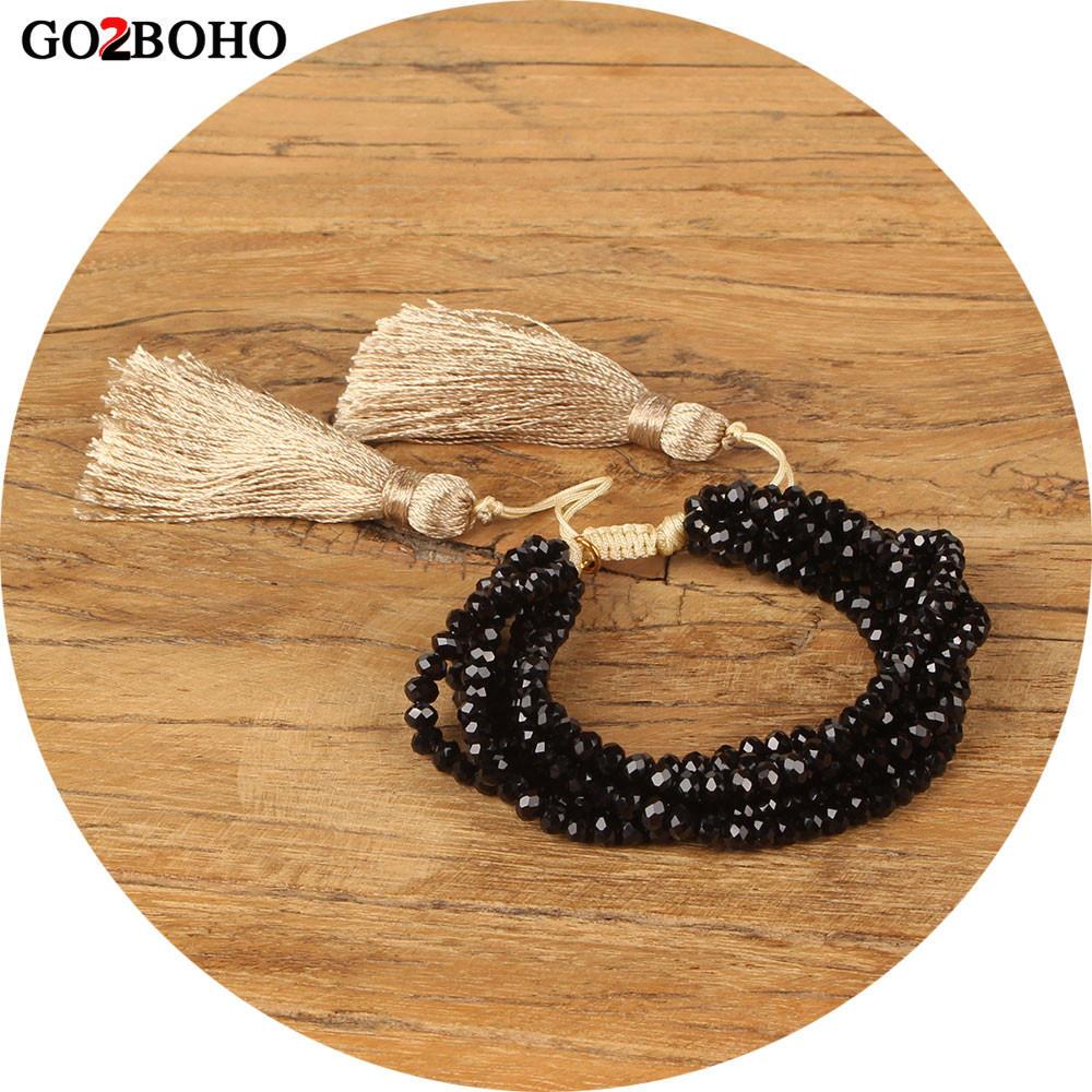 Go2boho Dropshipping Wholesale 6 Wrap Bracelet Black Faceted Crystal Pulseira Charm Bracelets Women Jewelry Gift Tassel Handmade все цены