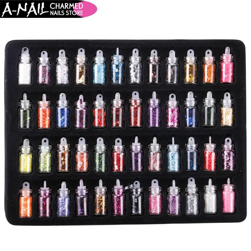 NEW 48 Bottles/Set Arcylic Nail Glitter Set Dust Powder for