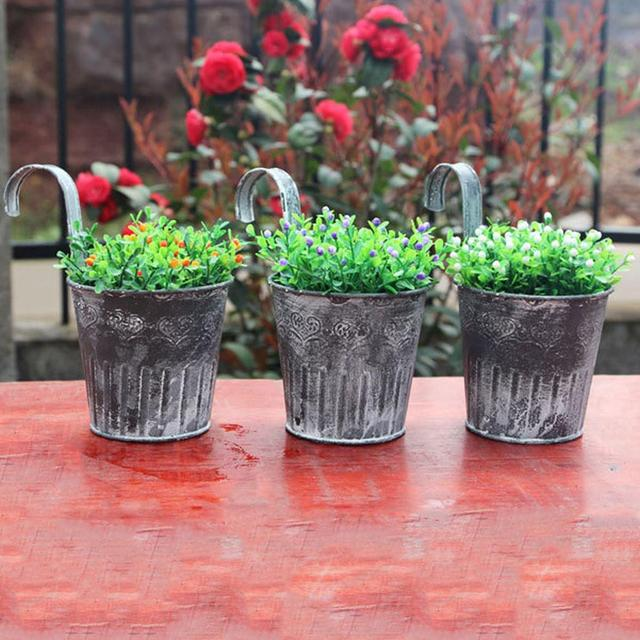Hanging Balcony Garden Plant Planter Vintage Style Metal Hanging Planter Pot Zinc Garden Plant Flower Container Home Decor