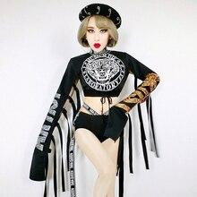 Fashion hiphop Sequin Jazz Dance Show Costume Sexy Adult Female Singer Tassel dj Performer Costumes Nightclub