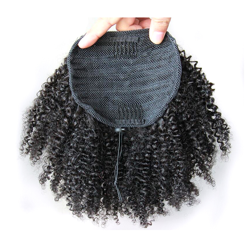 African American Indian Tight Curl Clip In Hair Extensions 10-18 inch Kinky Curly Afro Puff Ponytail Hairpiece 100g Synthetic