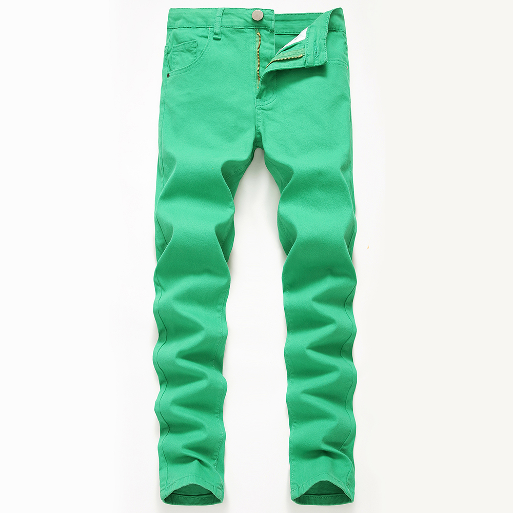 2019 New Men's Elastic Jeans Fashion Slim Skinny Jeans Casual Pants Trousers Jean Male Green Slim Pants Classic Jeans