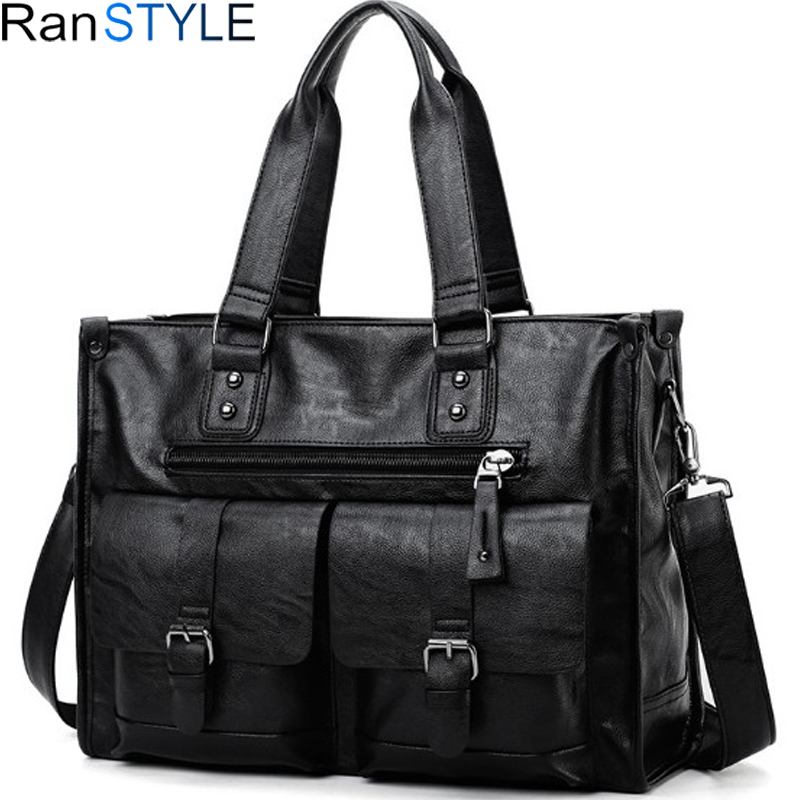 Leather Laptop Bag Men Black Briefcase 15.6